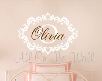 Wall Decal Baby Girl Nursery Name Monogram Wall Decal Shabby Chic Decals Vinyl Lettering Girls Nursery Monogram Decal For Babies Children