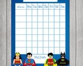 Lego Superhero themed Chore Chart - Reward Chart - Digital file