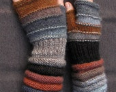SALE Brown-gray fingerless as biscuits with icing. Unmatched Hand Knit Striped Hand Warmers with upcycled wool and kid mohair