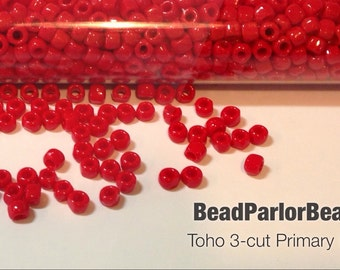 TOHO Primary Red Glass Seed Beads - BP-408 - Size 12/0 3-cut - 28 grams