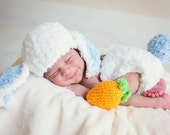 PDF Bunny Rabbit Hat and Diaper Cover Set with Amigurumi Carrot Crochet Pattern Newborn Photo Prop Spring Easter