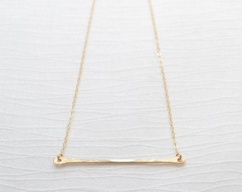 Gold Long Bar Necklace  -   Hammered bar on gold chain - 1123