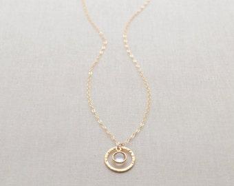 Silver Birthstone Necklace, Birthstone Charm Necklace, Petite Birthstone Jewelry, Personalized Necklace, Olive Yew - 1295