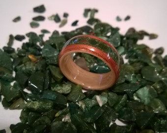 READY TO SHIP size 10 Hand Made Beech & Spanish cedar with an India Bloodstone Inlay  wooden ring