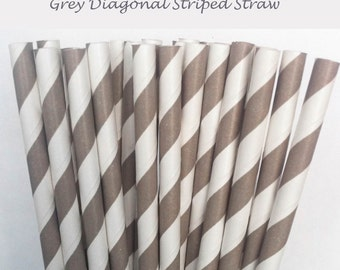 Grey Striped Paper Straws (S19) with free printable DIY Toppers - Pack of 25 or 50 Straws