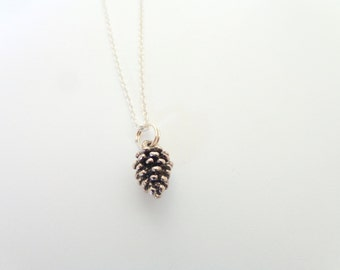 Tiny Pinecone Necklace.  Dark Silver Pinecone Necklace.
