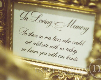 In Loving Memory Sign Table Card - Wedding Reception Seating Signage - Family Photo Table Sign - Matching Numbers Available SS04