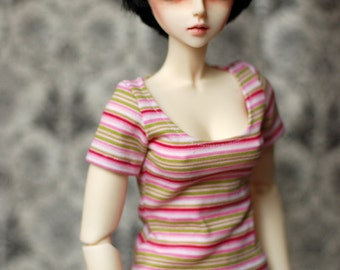 SD Pink And Green Striped Top For BJD - Free Shipping