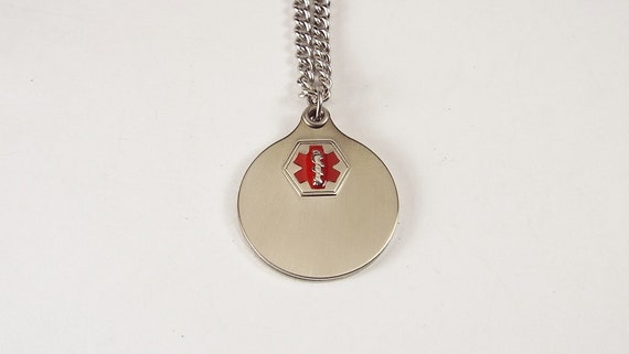 Stainless Steel Medic Alert Necklace Personalized Speidel Brand Made in the USA - Hand Engraved