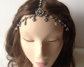 Clear, Red or Dark Grey Dangly Medieval Crystal Gypsy Stretchband