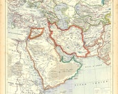 Vintage Map Western Asia after World War I,  Historical Map, Political Division, Middle East, Near East 1930s