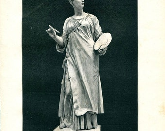 Original Antique Engraving of a French Sculpture of a Woman,   1899 Paris Universal Exhibition, Exposition Universelle