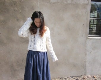 Hand knit cable cardigan women sweater knitwear tops  by Viola&Dan