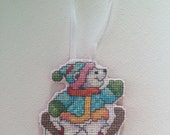 Cute Skiing Polar Bear Cross Stitch Christmas Ornament