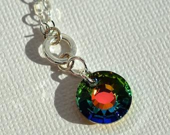 Rainbow Necklace, Swarovski Necklace, Crystal Sun Necklace, Sunburst Necklace, Sparkly, Crystal Pendant Necklace, Sterling, Color Change