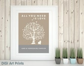 Yorkshire Terrier Art Print, Yorkie Silhouette, All You Need Is Love And A Yorkshire Terrier, Tree, Modern Wall Decor