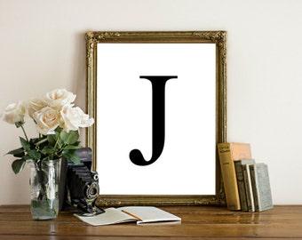 Printable letter art, letter J, letter k, letter  L wall art, Black letter, simplistic, monogram, initial art print, instant download