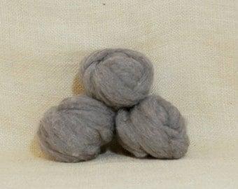 Needle felting wool batting in Suede, wool batting roving, felting supplies, fleece wool batting in Suede, tan gray wool, wool for spinning,