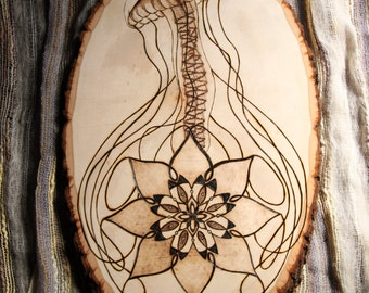Mandala Jellyfish Pyrography Wood Burning Wood Plaque