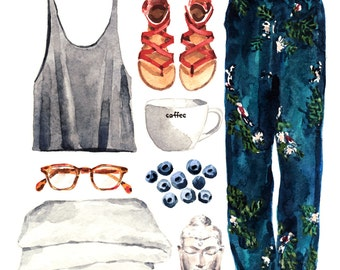 Summer Saturday Morning Collage Lazy Sunday - Original Watercolor Painting 8 x 10 - Blue Zen Buddha Blueberry Coffee Tortoise Frame Glasses