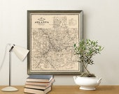 Map of Atlanta - Old map  restored - Archival fine print of Atlanta map