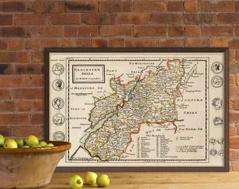 Gloucester Shire map - Old map print - Archival reproduction