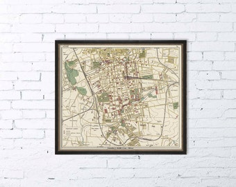 Old map of Lodz (Poland) - Archival print - Vintage map of Lodz reproduction - Historic maps for wall decoration
