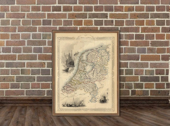 Map of Holland  - Archival map print - Vintage map of  Holland