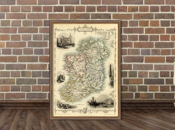 Ireland map - Old map of Ireland - Old city map print - Fine print - Map reproduction