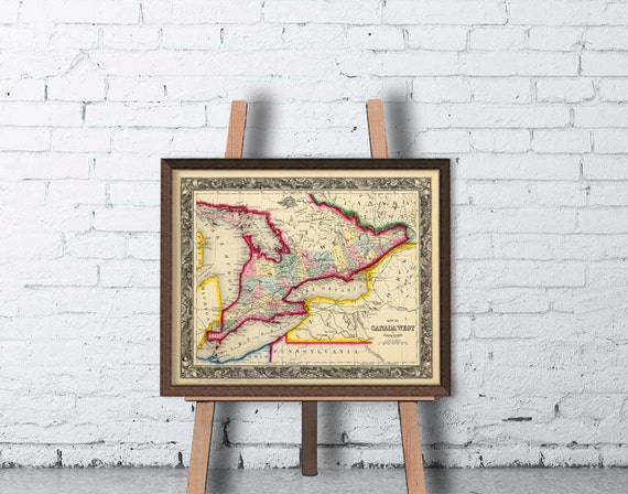 Vintage map of Canada - western part - A vintage map from 1860- Archival print - 11 x 14""