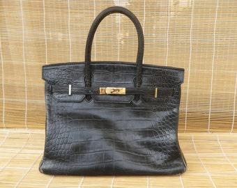 Vintage Lady's Black Faux Leather Medium Size Hand Bag Purse