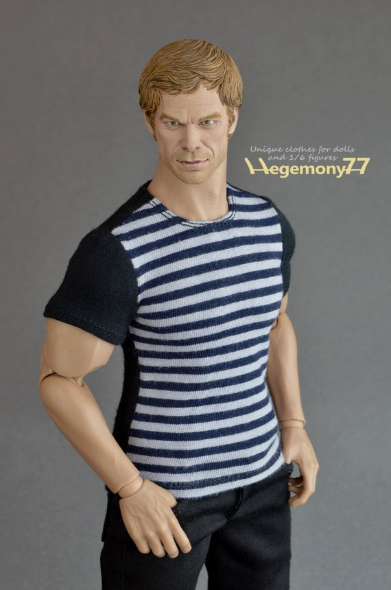 1/6th scale XXL black grey striped T-shirt for: Hot Toys TTM 20 size bigger action figures and male fashion dolls