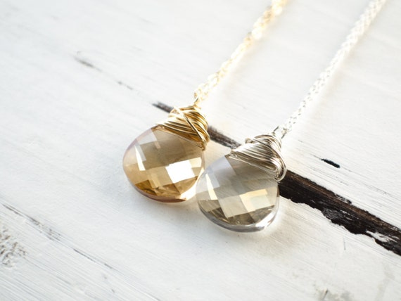 Crystal Teardrop Necklace | Sterling Silver Necklace | Gold Filled Necklace | Champagne Clear | Bride Bridesmaid Necklace | Cocktail Jewelry