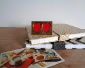 Vintage Solid Brass Double Heart Mini Picture Frame - Valentine's Day Wedding Gift