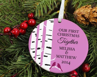 Our First Christmas Together Ornament - Birch Tree & Love Birds - Personalized Porcelain New Couple Holiday Ornament - Anniversary - orn437