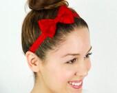 Red Headband Hair Bow Stretchy Headband Elastic Headband Petite Headband Small hair bow gifts for her red bow headband red hair bow lolita