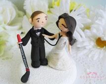 Custom Cake Topper- Hockey Player & Doctor Couple