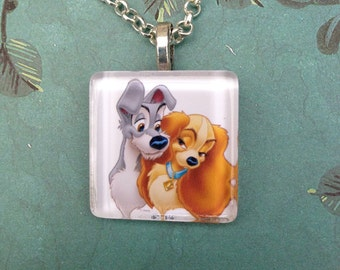 Lady and the Tramp romantic Dog Glass Tile Pendant