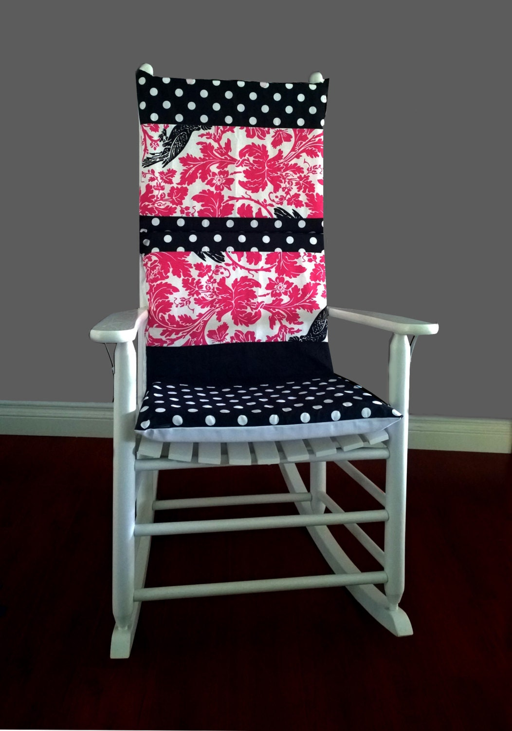 Rocking Chair Cushion Cover Barber Pink Black by RockinCushions