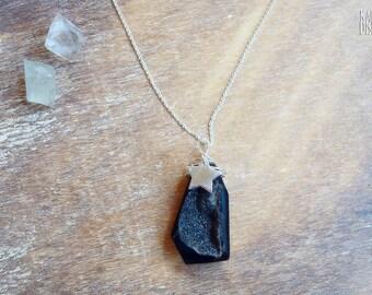 Black Agate Raw Necklace. Druzy gemstone necklace. 925 sterling silver chain. Star Druzy necklace. Druzy Quartz necklace. May Birthstone