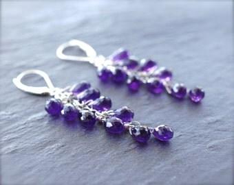 Amethyst cluster earrings Sterling silver amethyst briolette earrings Rich purple faceted amethyst earrings Gemstone cascade - MADE TO ORDER