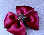 Burgundy Red Christmas Hair Bow with Red and Green Swarovski Crystal Accent / Toddler Girl Hair Bow Clip / Holidays / Christmas / Party