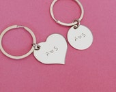 Couples Keychains, Initial Keychains, Personalized Keychains, Heart Circle Keychains, Couples Anniversary gift