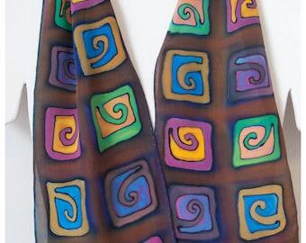 "Spiral silk scarf / Hand painted silk scarves. Handmade silk scarf. OOAK 8""x52"" silk scarf handpainted. hand-painted silk scarf.made in USA"