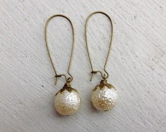 Pearl Earrings/Cream Pearl Earrings/Rustic WeddingEarrings/Gifts For Her/Bridesmaid Earrings/Ecru Earrings/Pearl Bridesmaid Earrings