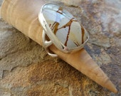 Jasper Cabochon Ring Silver SALE. Was 420.00. Adirondack Ring Bezel Stone Ring Owyhee Jasper Cabochon Ring Silver Statement Ring
