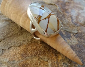 Silver Antler Ring Owyhee Jasper Cabochon Antler Ring  Silver Statement Ring