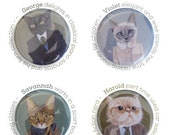 Cats In Clothes 4 Magnets - The Grown-Ups