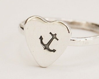Sterling Silver Anchor Heart Ring - Nautical - Navy - Hand Stamped - Metalwork - Custom Made