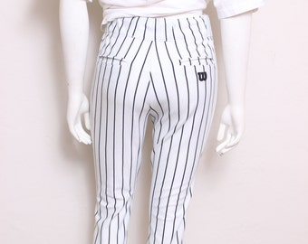 MOVING SALE - Vintage Wilson Baseball Black and White Stripe Youth Large Athletic Workout Pants